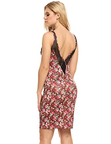 ELESOL Women's Sleeveless V Neck Floral Print Backless Mesh Cocktail Party Pencil Dress