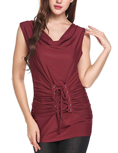 ELESOL Women's Cowl Neck Lace up Corset Ruched Summer Sleeveless Tank Top