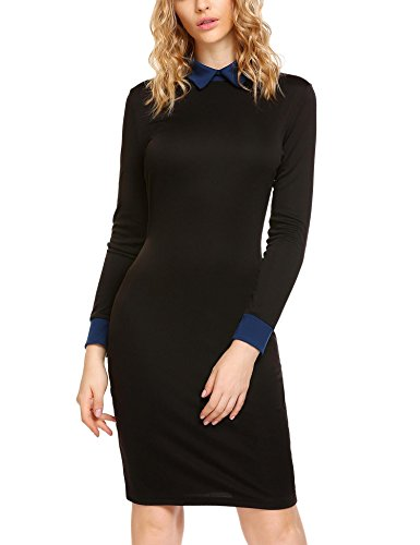 ELESOL Classy Peter Pan Collar Stretchy Pencil Midi Dress