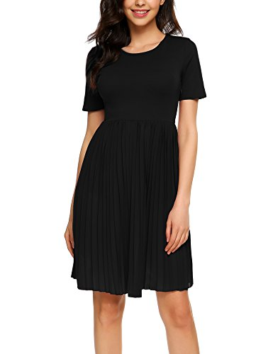 Eleosl Women's Short Sleeve Fit and Flare Cotton A-Line Party Dress Knee Length