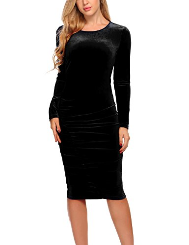 ELESOL Women's Velvet Long Sleeve Ruched Bodycon Party Cocktail Midi Dress