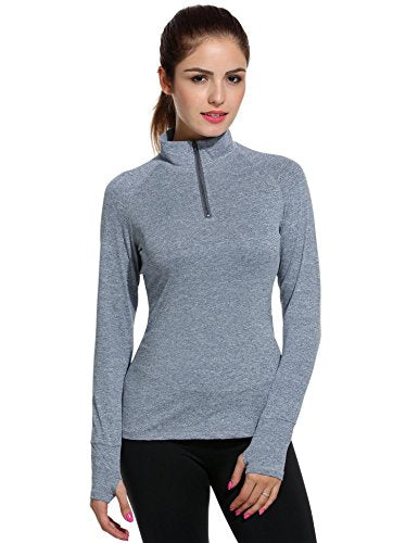 ELESOL Women's Long Sleeve Workout Tee Running Gym Sports T-Shirt Fast Dry