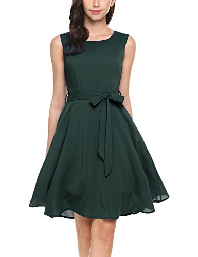 ELESOL Women's Summer Sleeveless Pleated Chiffon Bridesmaid Party Dress,Dark Green,S