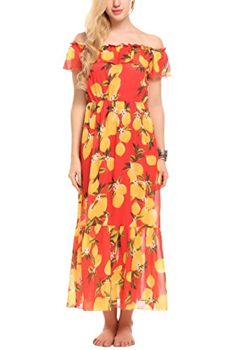 ELESOL Women's Ruffle Off Shoulder Bohemian Floral Print High Waist Maxi Beach Dress