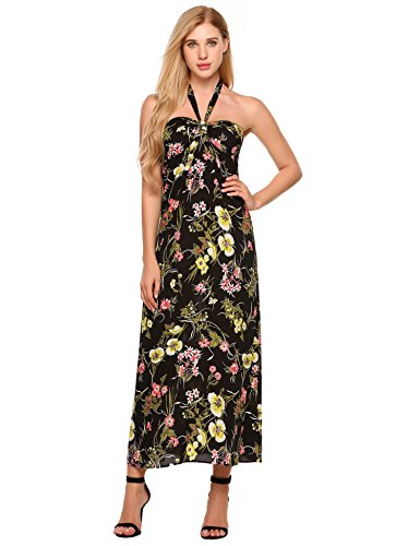 ELESOL Women's Lace Up Halter Floral Maxi Dress