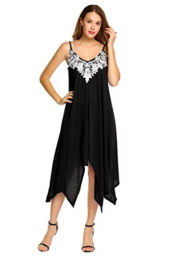 ELESOL Women Spaghetti Strap Floral Lace Irregular Hem Maxi Dress