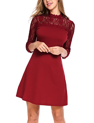 ELESOL Women 3/4 Sleeve Lace Patchwork Cocktail Party Slim A-Line Dress