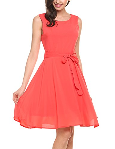 ELESOL Women's Round Neck Sleeveless Chiffon Midi Dresses(Orange,XL)