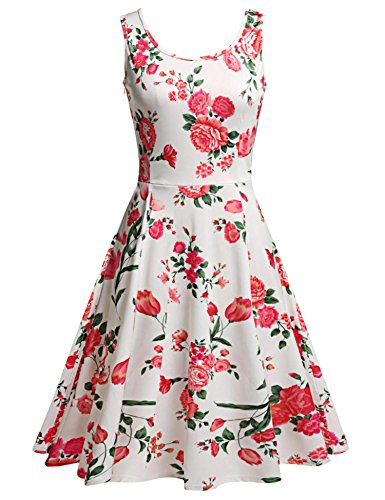 ELESOL Women Summer Floral Sleeveless A Line Pleated Flare Swing Dress P_L
