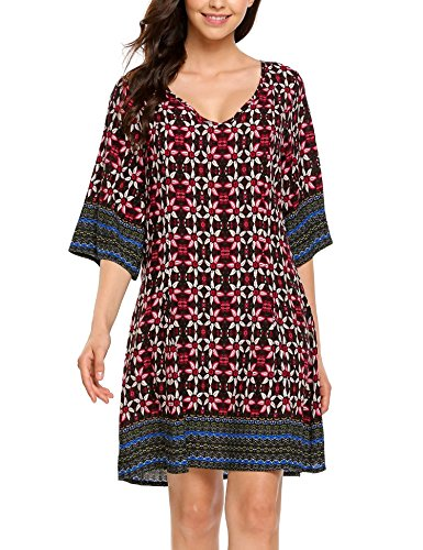 ELESOL Women Bohemian Vintage Floral Printed Ethnic Loose Casual Dress Black1 XL