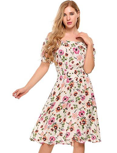 ELESOL Womens Flower Print Dress Off Shoulder Ruffle A Line Beach Dress