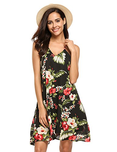 ELESOL Women's Floral Backless Sundress Spaghetti Strap Beach Party Skater Dress