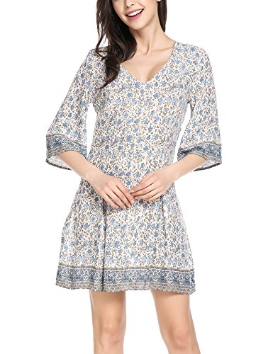 ELESOL Women Flare Half Sleeve Casual Floral Above Knee Short Dresses Blue XL