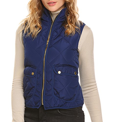 ELESOL Women's Stand Collar Lightweight Quilted Zip Up Puffer Vest with Pockets