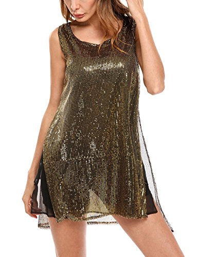 ELESOL Sparkly Sequin Tunic Tops Sexy Glitter Party Mini Dress