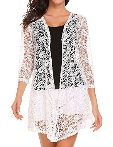 ELESOL Women's Sexy Lace Crochet Cardigan 3/4 Sleeve Beach Cover Up
