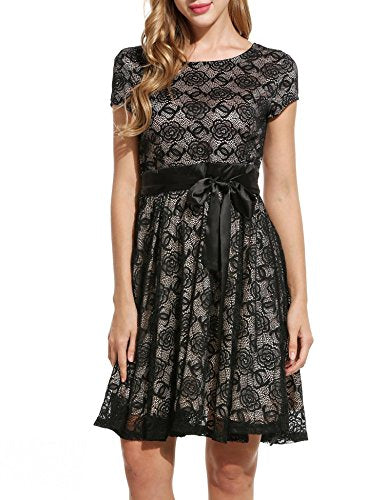 ELESOL Women Floral Lace Dress Cap Sleeve Vintage Flare Cocktail Party Dress