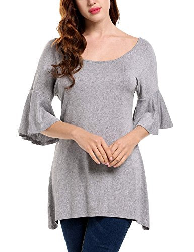 ELESOL Women's Casual Groat Neck Loose Fit Grell 3/4 sleeves Tunic T-shirts,Grey,XXL