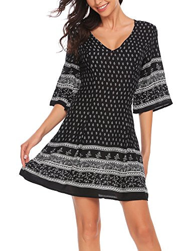 ELESOL Women Casual Fit and Flare Floral Print Half Flare Sleeve Dress Black XL