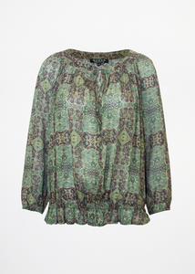 Alicia top Baroque Green & Wine
