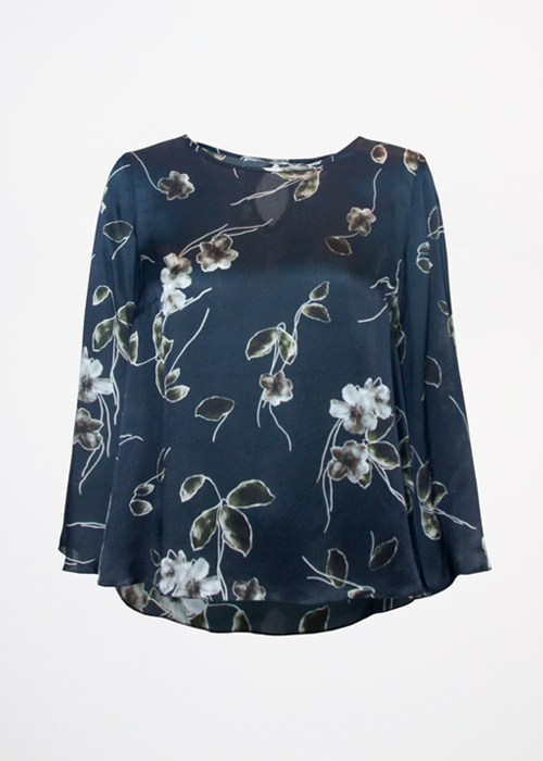Birgitte Silk top Black Flower