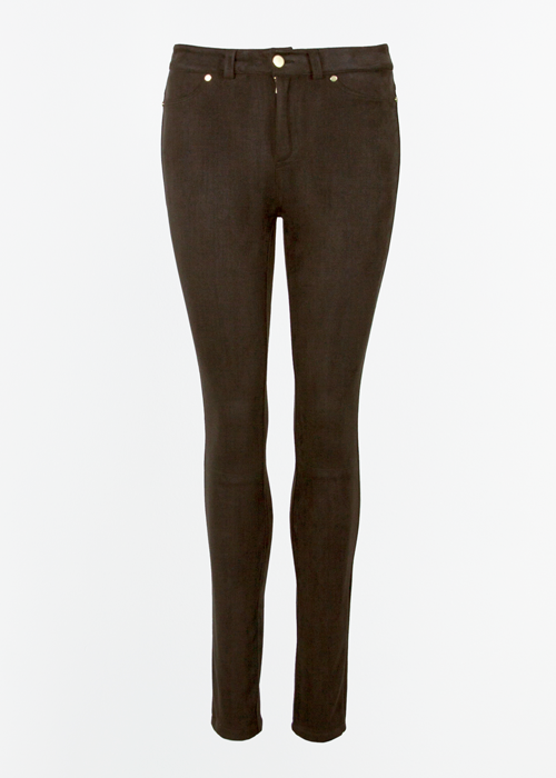Jenny Trousers Dark Brown Suede Imitation