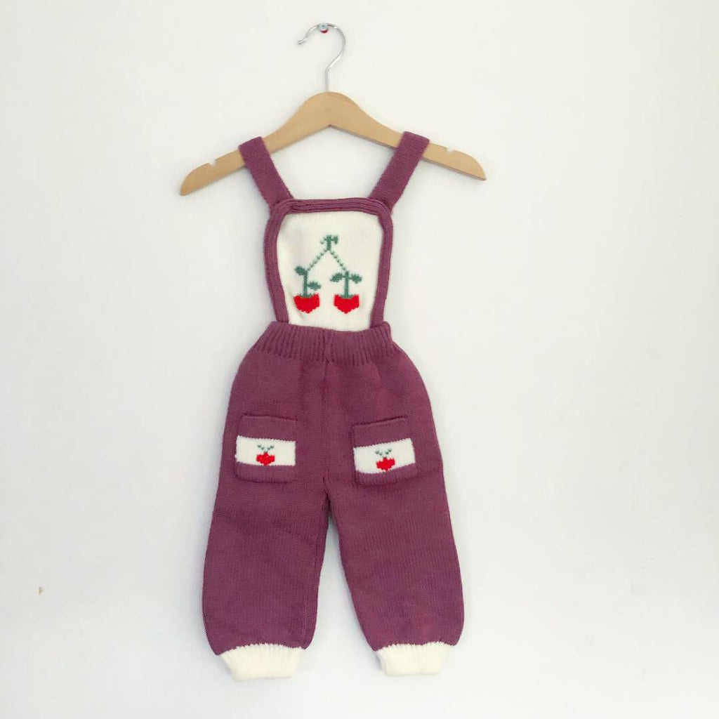 Vintage Knitted Cherry Motif Romper