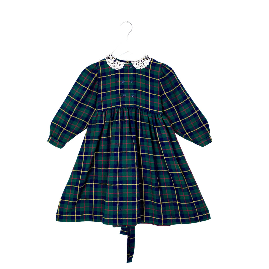 Beautiful Lace Collar Vintage Plaid Dress