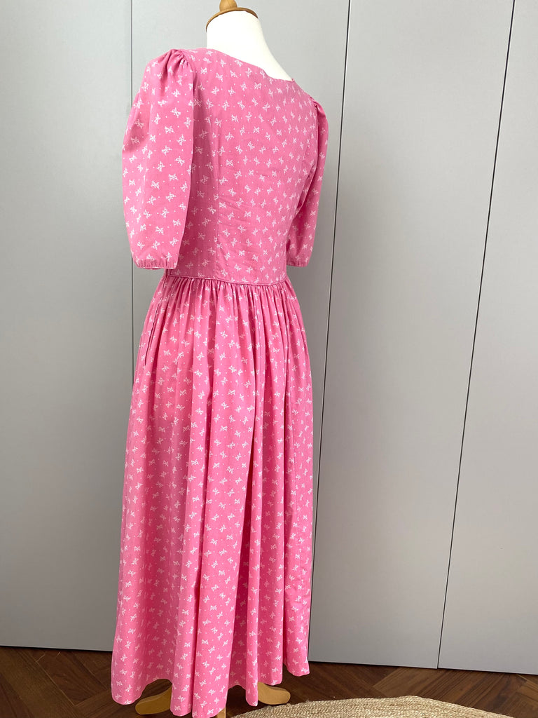 Vintage Laura Ashley Pink Bow Dress
