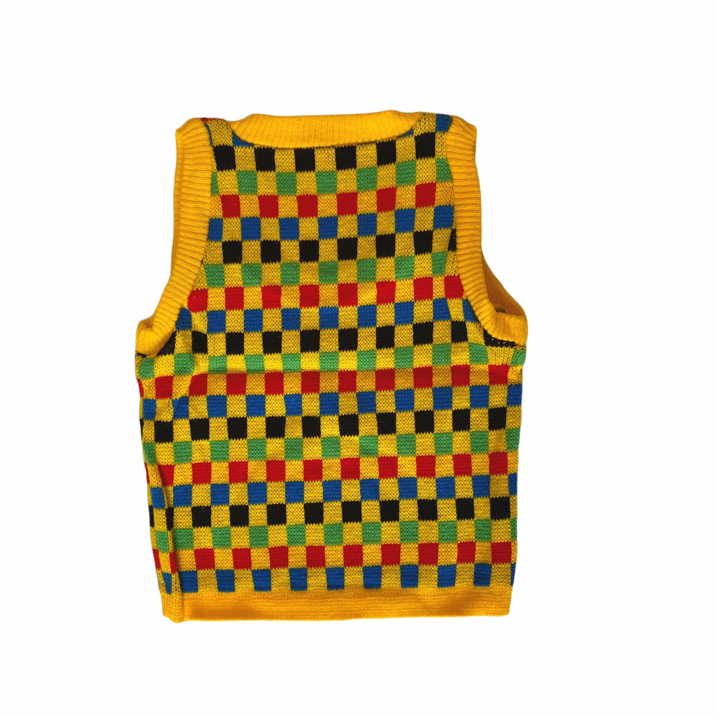 Vintage Danish Checkerboard Yellow Knit Vest
