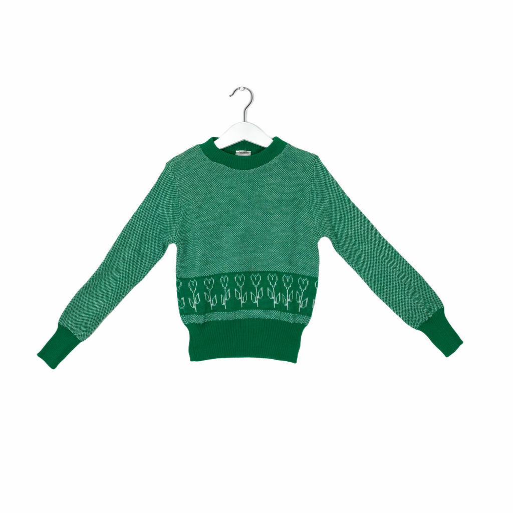 Vintage Green Flower Knit Sweater