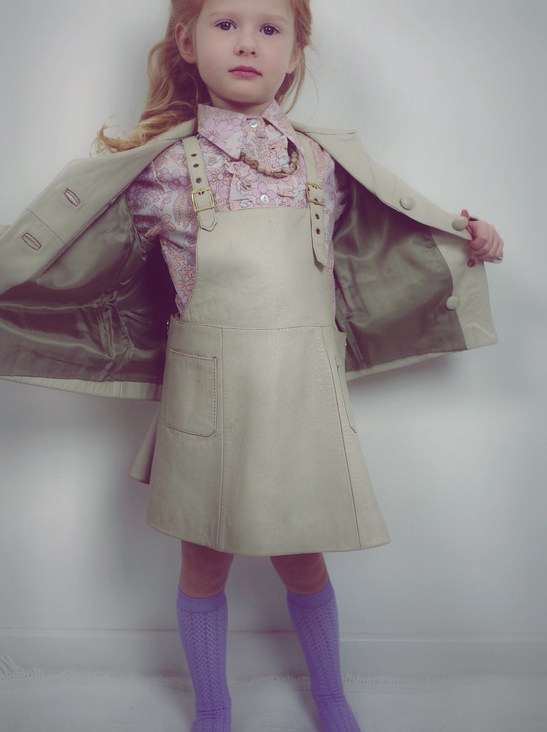 Incredible Rare Vintage Leather Kids Dress and Jacket