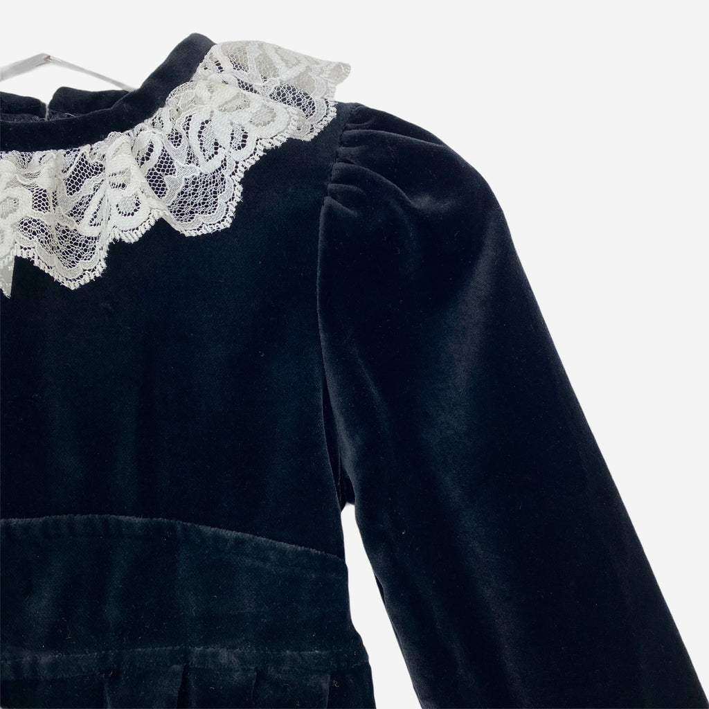 Lace Collar Vintage Velvet Dress