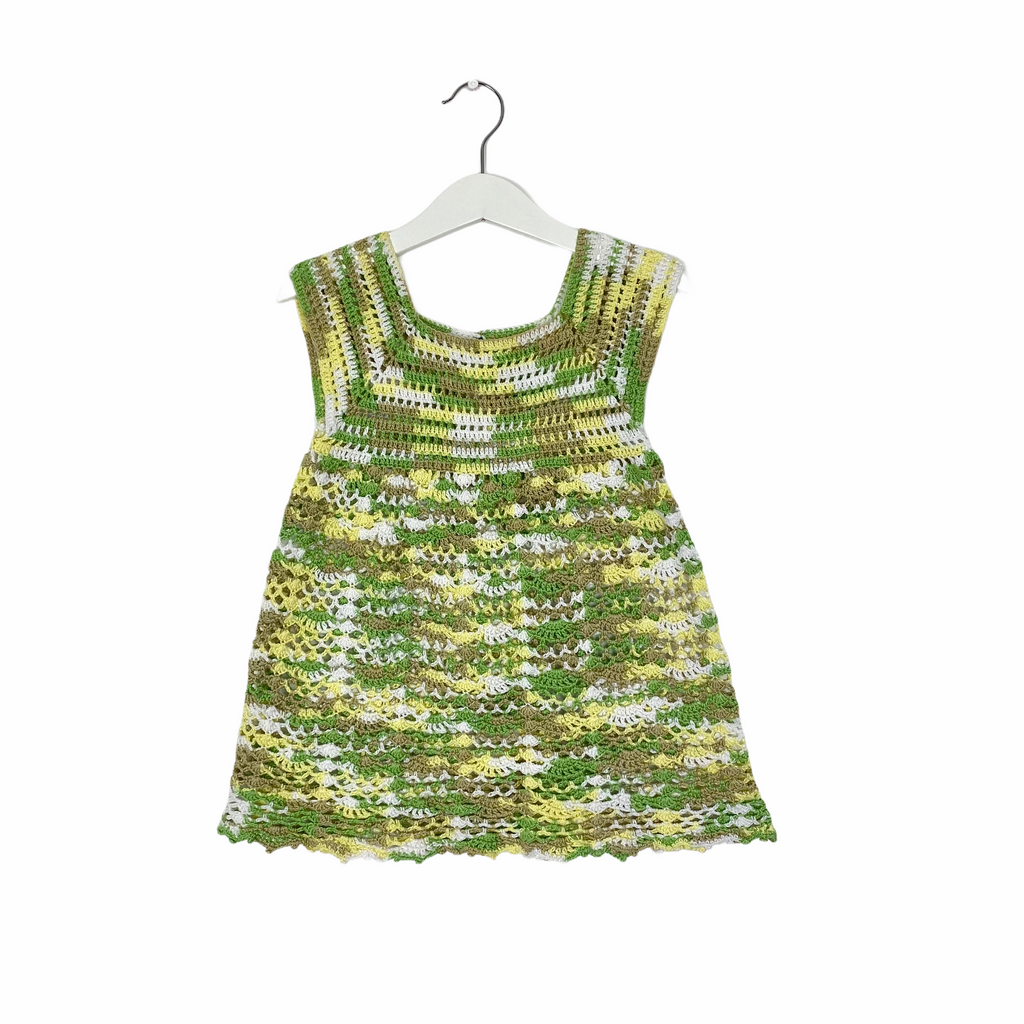 Little Crochet Mottled Green Dress