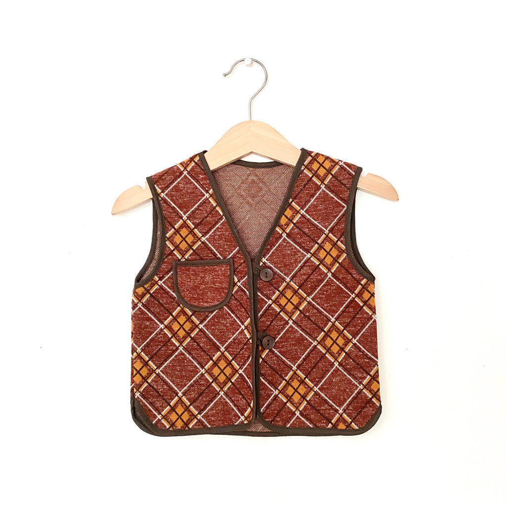 Vintage Danish Waistcoat Brown Plaid