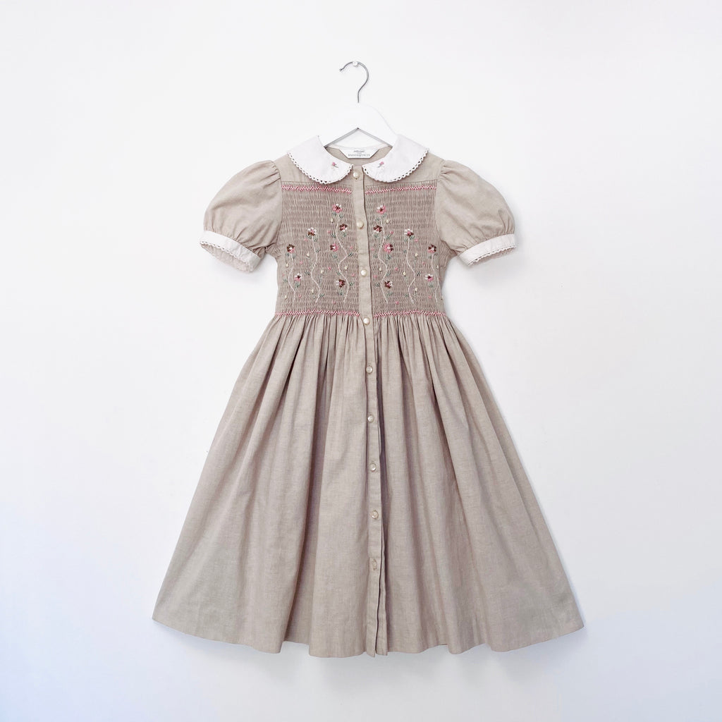 Beautiful Neutral Toned Smocked Dress
