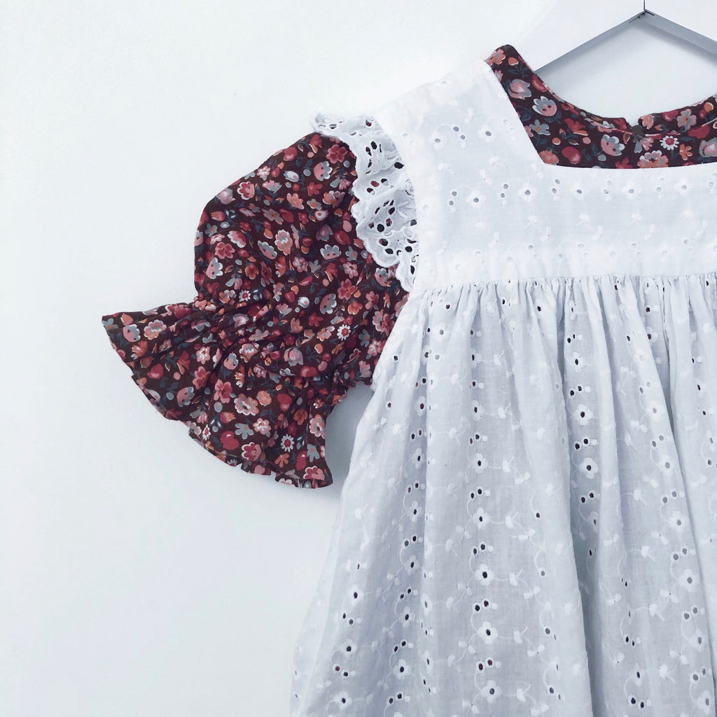 Vintage Flower and Layered Broderie Anglaise Dress