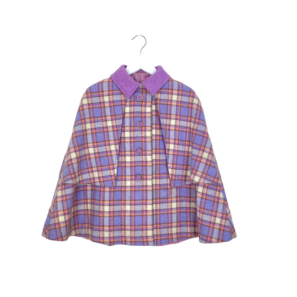 Vintage Lilac Plaid Cape