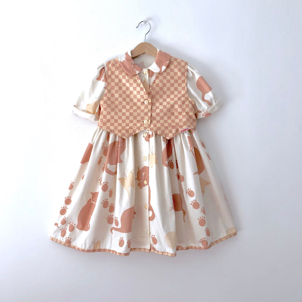Vintage Peter Pan Collar Cat Print Dress with Vest
