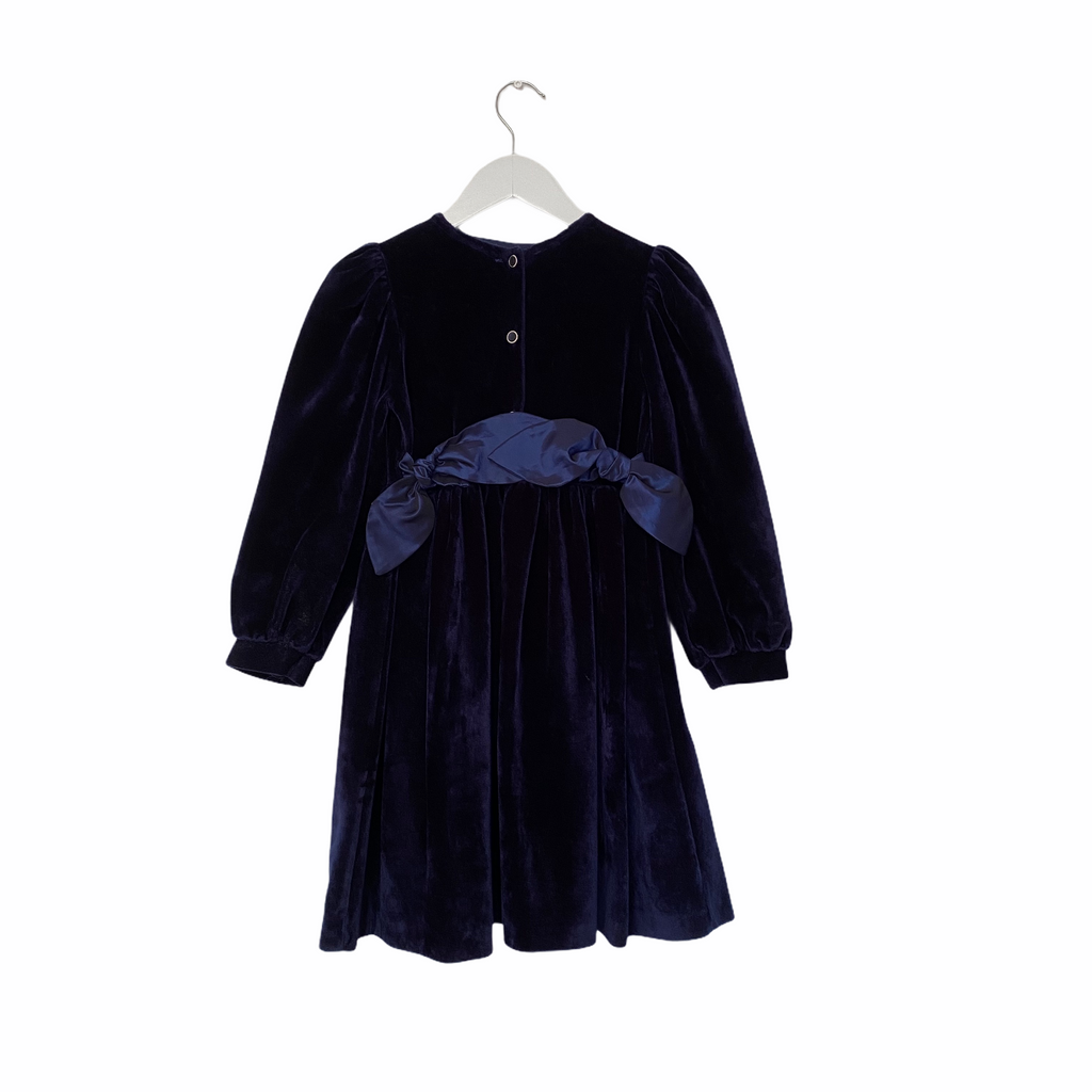 Vintage Deep Blue Velvet Dress with Taffeta Bows