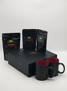 Loose Leaf Tea Gift Box with Peppermint Green, Chocolate and Gingerbread Teas and Mugs outside the box