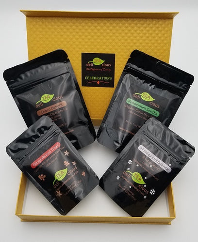Loose Leaf Tea Gift Box with Peppermint Green, Chocolate, Gingerbread and Holiday Teas