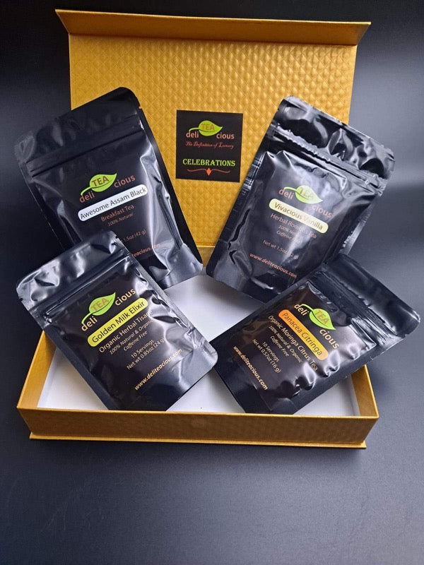 Loose Leaf Tea Gift Box with Assam Black, Golden Milk, Ginger Citrus Moringa and Vanilla Teas