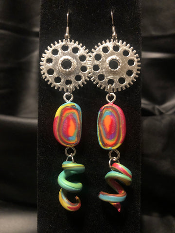 Steampunk Sorbet Swirl Earrings