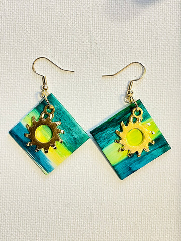 "Alcohol Ink Steampunk ""Sky Shine"" Square Earrings"