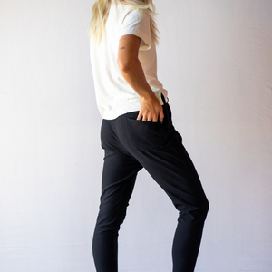 Back view of casual pants from Bliss + Chaos womens online clothing store