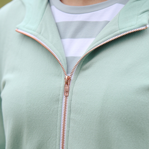 Harlyn hoody close up of rose gold zip