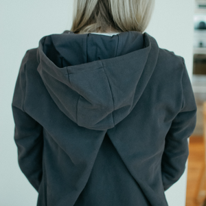 Harlyn hoody in charcoal with unique pleated back