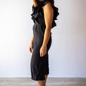 Side view of the Sophie Jumpsuit in 100% linen, from online womens clothing store Bliss + Chaos