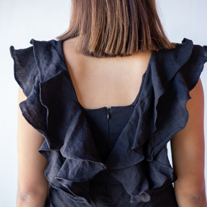 Back frills on the Sophie Jumpsuit from online clothing label Bliss + Chaos